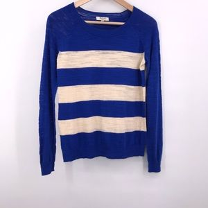 Madewell Blue and White Light Weight Sweater XS